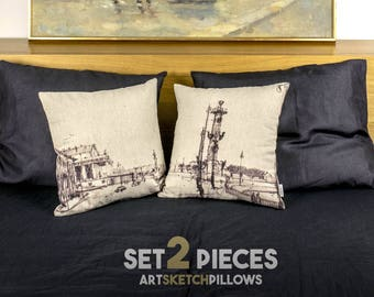 """Art Pillows with sketch of Saint Petersburg, SET 2 pillows detailed printed, 16x16"""", Original interior decoration - Limited Edition of 100"""