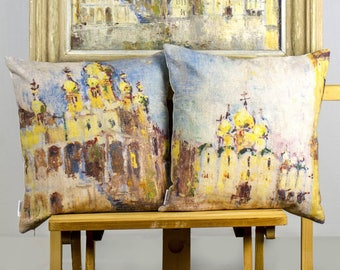 """Outstanding SET 2 pillows, colorful printed details of picture, Moscow Kremlin Russia painting, 16"""" or 26"""" - Limited Edition of 100"""