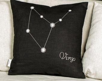 From light to dark, Virgo Zodiac glowing pillow, Linen cushion cover