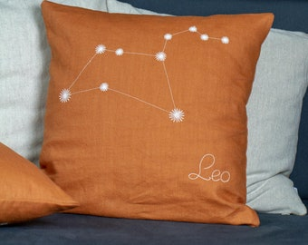 From light to dark, Leo Zodiac glowing pillow, Linen cushion cover