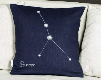 From light to dark, Cancer Zodiac glowing pillow, Linen cushion cover