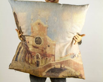"""Romantic Venice painting, Huge cushion with colorful printed details of paint, Bright color, 16"""" or 26""""/40 or 65 cm - Limited Edition of 100"""