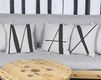 """3 pillows pieces SET of with unique typography letters, black & white, 16x16"""", Cotton cushion cover, your choice of the letter"""