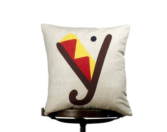 """Colorful Y monogram, bright color pillow cover, 16x16"""", cotton cushion art cover, beige background, Multi-Coloured, Child-safe printing."""