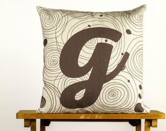 """Letter G as gravity:) Pillow - 16x16"""" 40x40cm, simply typography & abstract elements, cotton cushion art cover, graphic and interior design."""