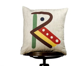 """Creative typography letter R, bright color pillow cover, 16x16"""", cotton cushion art cover, light beige background, Child-safe printing."""
