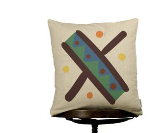 """Pillow Cover X monogram, bright color pillow cover, 16x16"""", cotton cushion art cover, beige background, Multi-Coloured, Child-safe printing."""