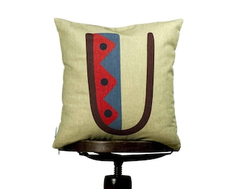 """Typography color U, modern and stylish pillow cover, 16x16"""", cotton cushion cover,  beige background, Multi-Coloured, Child-safe printing."""