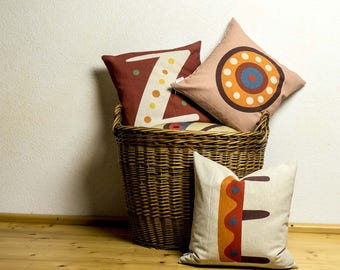 """Unique SET 3 pieces of pillows with colorful typography letters of alphabet, Bright color, 16x16"""", Cotton cushion cover, Child-safe printing"""