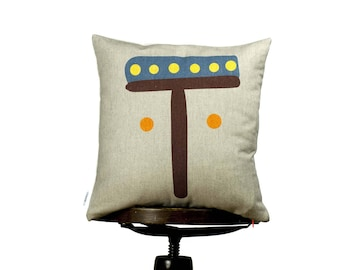 Funny bright color Pillow cover with letter T, Yellow, Monogram cushion, Multi-Coloured, kids room pillows,nursery cushions