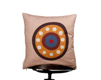 """Creative typography letter O, bright color pillow cover, 16x16"""", cotton cushion art cover, pink background, Originally Optimistic cushions"""