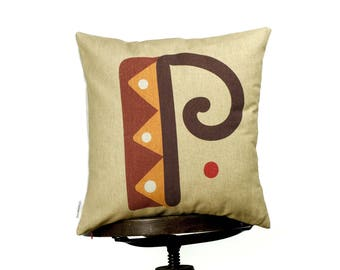 """P - letter, bright color pillow cover, 16x16"""", cotton cushion art cover, light beige background, Multi-Coloured, Child-safe printing."""