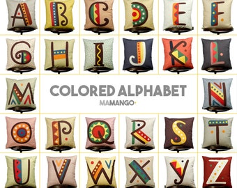 """Complete alphabet, SET 26 pieces of pillows with color letters, Bright color, 16x16"""" 40x40 cm, Cotton cushion cover, Child-safe printing"""
