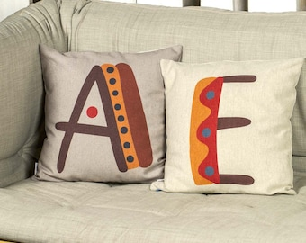 """Creative SET 2 pieces of pillows with unique typography letters of alphabet, Bright color, 16x16"""", Cotton cushion cover, Child-safe printing"""