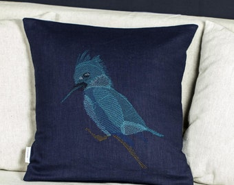 Kingfisher Bird Blue embroidery pillow, Linen cushion cover with embroidery decorative theme