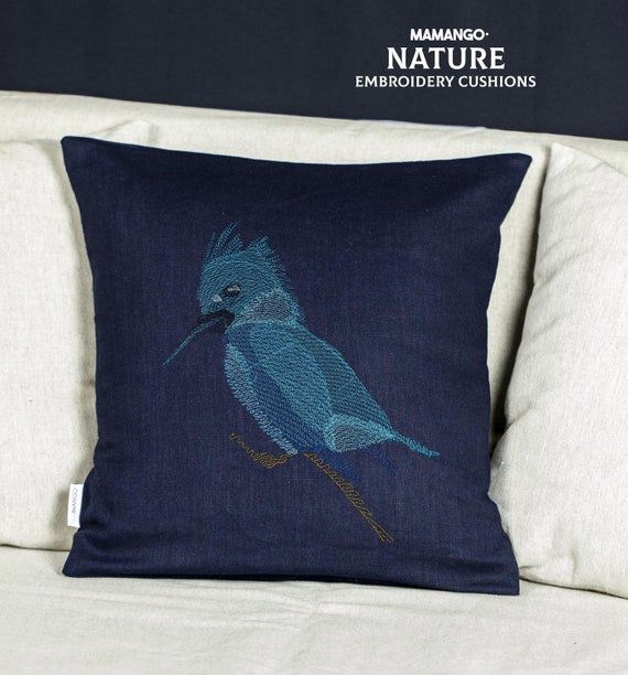 Kingfisher Bird Blue Embroidery Pillow Linen Cushion Cover Etsy