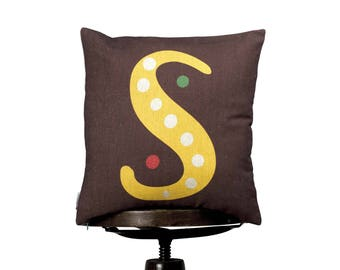 """Pillow Cover S monogram, bright color pillow cover, 16x16"""", cotton cushion art cover, dark background, Multi-Coloured, Child-safe printing."""