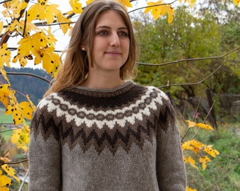 Handknitted Natural Yak Wool Pullover, Warm, Soft, 100% Pure, ORGANIC  Mongolian Altai Yak Down Sweater, pullover,  Size S, M, L, XL Women,