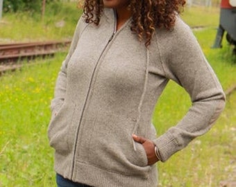 Womens' Hooded Yak Wool Jacket Jumper with Zip, Grey  100% Pure Organic Undyed Mongolian Yak Down, Eco-Friendly, Warm and Ultra-Soft.