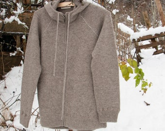 Men's Hooded Yak Wool Jacket Jumper with Zip, Grey  100% Pure Undyed Mongolian Yak Down, Eco-Friendly, Warm and Ultra-Soft, Free Dispatch