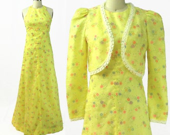 Vintage 1970s Yellow Floral Organza Halter Dress with Matching Jacket / Size XS / X-Small