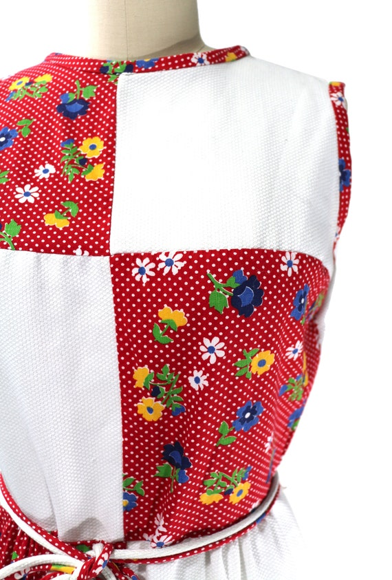 Vintage 1960's Red Floral Patchwork Country Dress… - image 3