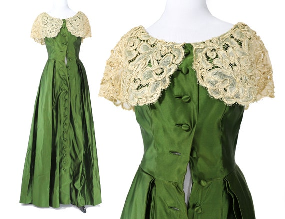 Vintage 1940's Green Duchess Satin Gown with Souta