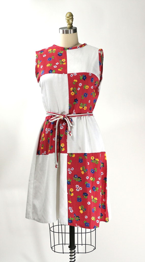 Vintage 1960's Red Floral Patchwork Country Dress… - image 2