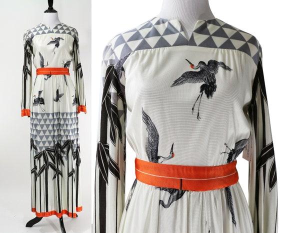 Vintage 1970's Grey Bird Printed Maxi Dress / Size