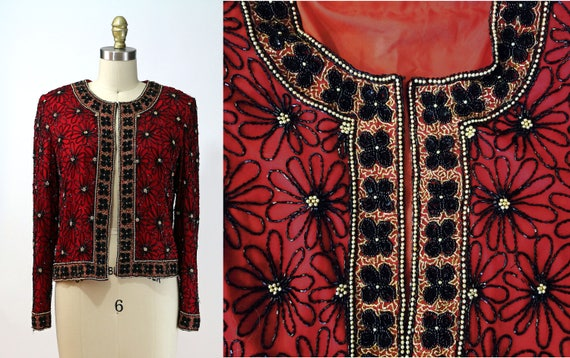 Vintage 70s/80s Red Silk All Over Beaded Jacket /