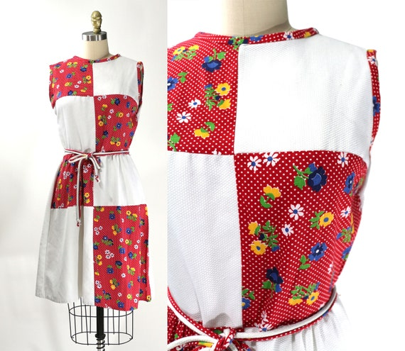 Vintage 1960's Red Floral Patchwork Country Dress… - image 1