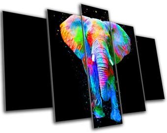 Elephant Animal Art Canvas Print - Abstract Art - MULTI PANEL - Wall Art - Framed Print - Ready To Hang