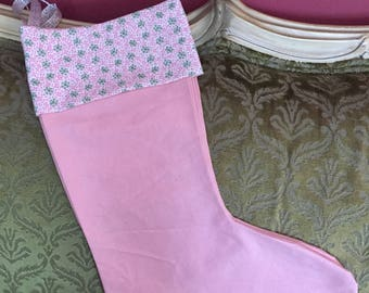 Pink and Floral Christmas Stocking