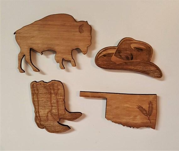 oklahoma magnet set fridge magnets wooden magnets magnet etsy
