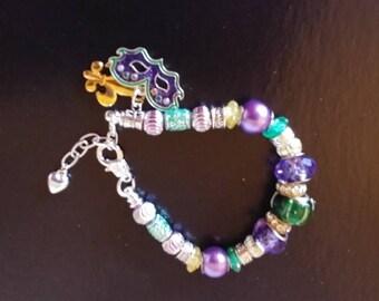 Charm bracelet European beads Mardi gras