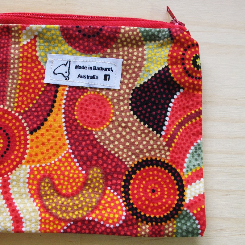 Australian Aboriginal Dot Art Fabric Lined Zippered Pouch Etsy
