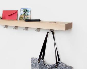 Wooden shelving, hall furniture, solid wood shelf, organizer shelf, floating shelf, wall shelf, hooked shelf