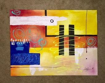 "Abstract Painting Original Acrylic Canvas 24"" X 36"" Wall Art"