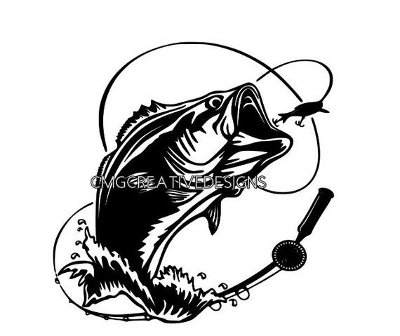 Download Bass Fish Jumping Out Of Water With Fishing Lure Svg Instant Etsy