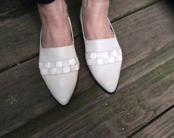 Vintage Woven Ivory Leather Flats, Women's Size 6, Eur 36