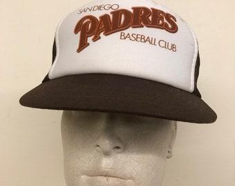 aa1a9f88677 Vintage San Diego Padres Baseball Club Mesh Trucker Hat   Brown White  Snapback