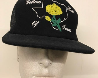 Vintage Mesh Trucker Hat - Yellow Rose of Texas   Black Mesh Snapback 76397ccd6fe9