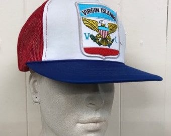 1ab582649d2 Vintage Trucker Hat - Patch   Virgin Islands Red White Mesh Snapback