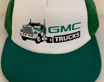7c0969819e2 NOS Vintage 1980s Trucker Hat - GMC Trucks - Green Mesh Snap Back