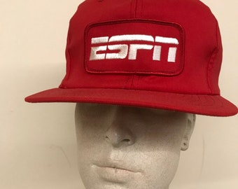 84e68cc2c492 Vintage Trucker hat - ESPN Patch Throwback Baseball Cap   Red Snapback