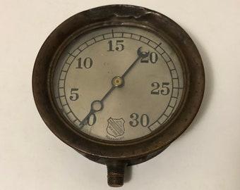 Vintage steampunk brass ashcroft steam pressure gauge 1876 large 6