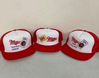 771b90b14bd3b NOS Vintage 1980s Miller Lite Trucker Hat Lot of 3- Miller Beer - Red Mesh  Snap Back