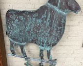 Antique 30 x30 Copper RAM Weathervane w Directionals American Great Patina Sheep