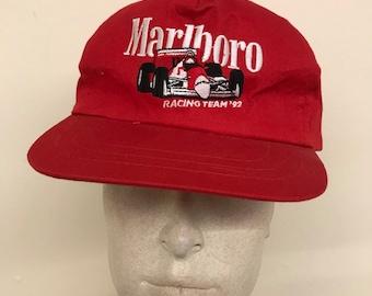 459c4067032 Vintage Marlboro Racing 1992 Hat - Red Snapback Tobacciana