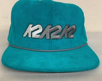 473f5ba8 NOS Vintage 1980s Corduroy Hat - K2 Skiing - Teal Snap Back Ski